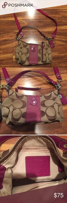 "Coach Poppy Handbag Like new Coach Poppy Handbag in khaki and pink measures 12"" x 7""! Has long straps and can be worn Crossbody! Retails for $175! Check out my closet too! Coach Bags Crossbody Bags"
