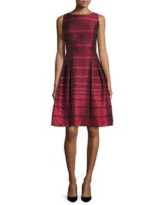 Sleeveless+Scalloped+Jacquard+Cocktail+Dress,+Red+by+Carmen+Marc+Valvo+at+Neiman+Marcus.