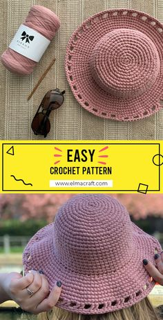 Crochet Hat With Brim, Crochet Adult Hat, Crochet Summer Hats, Mode Crochet, Crochet Beanie, Crochet Baby, Knit Crochet, Crochet Sun Hats, Cotton Crochet