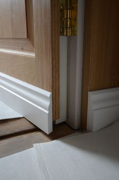oak jib door skirting and hinge detail Hidden Doors In Walls, Hidden Rooms, Hidden Door Hinges, Interior Exterior, Interior Design, False Wall, Sliding Wall, Hallway Designs, Secret Rooms