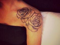 rose tattoo on shoulder cap