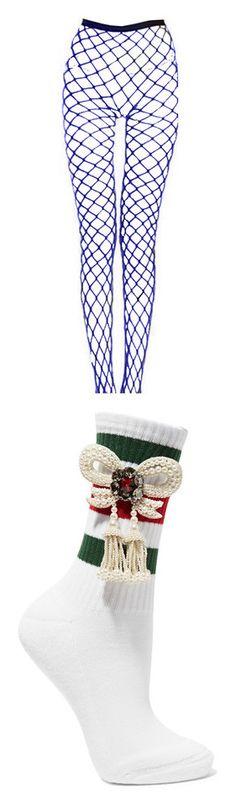 """socks/stockings"" by styledbyshamori ❤ liked on Polyvore featuring intimates, hosiery, socks, fishnet hosiery, gucci, accessories, white, ribbed socks, white socks and cotton blend socks"