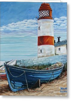Seascape Print featuring the painting Lighthouse by Wilma Kleinhans Lighthouse Painting, Boat Painting, Pinterest Pinturas, Nautical Art, Beginner Painting, Seascape Paintings, Beach Art, Pictures To Paint, Watercolor Paintings