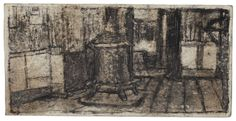 James Castle, Untitled (stove/interior), n.d.  Found paper, soot,