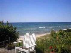 Manistee cottage rental - View of Lake Michigan from deck