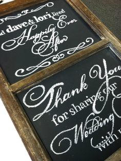 Thank You: hand-lettered chalkboard signage in an antique window frame