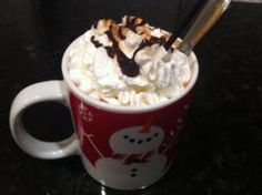 My eight year old loves mocha/jamocha drinks.  I came up with this recipe for her and she came up with the name of this yummy hot chocolate drink.  I make this using decaf coffee for the kids, but it could be a delicious caffeinated grown up drink at the end of a nice meal.  Dont forget the whipped cream and cinnamon sugar toppings - they are the icing on the drink (so to speak!)  Hope you enjoy it as much as we do!