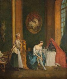 """Ecole FRANCAISE du XVIIIe siècle, atelier de Nicolas LANCRET (1690-1743)    """"La Toilette"""""""