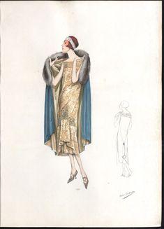 Fashion 1920s, Vintage Fashion, Vintage Style, Fashion Ideas, Roaring Twenties, The Twenties, Fashion Sketches, Fashion Drawings, Dress Drawing