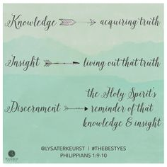 """Knowledge leads to acquiring truth. Insight leads to living out that truth.  Discernment is the Holy Spirit's reminder of that knowledge & insight."" @LysaTerKeurst #TheBestYes // Wrestling with how to determine the next major step for something? CLICK for wisdom and insights into making practical, biblical decisions."