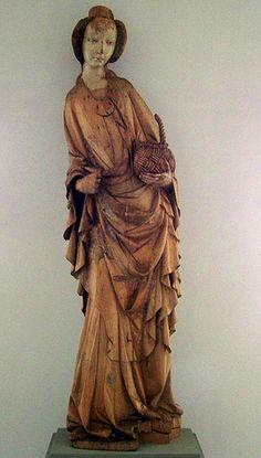 Sainte Dorothée 1410-1420, Bois peint, 169,5 cm, Galerie Nationale Hongroise, Budapest