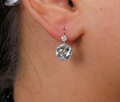 4.24ct Old European cut Diamond Drop Hanging SOLITAIRE EARRINGS in Platinum