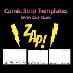 """FREE Comic Strip Templates with buzzword cut outs and bonus """"build your own story"""" page - such a GREAT idea for superhero birthday parties and special activity center time in your classroom"""