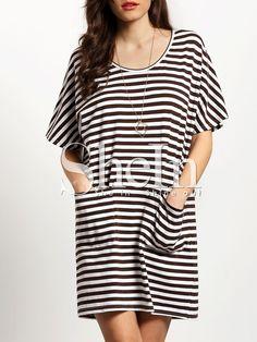 White+Brown+Striped+Pockets+Dress+12.99