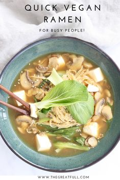 Vegan Ramen For Busy People A quick vegan ramen recipe for busy people! via quick vegan ramen recipe for busy people! via Tasty Vegetarian Recipes, Ramen Recipes, Healthy Recipes, Healthy Meals, Moist Pumpkin Bread, Best Pumpkin, Lunches And Dinners, Cooking, Ethnic Recipes