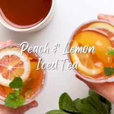 Peach Drinks, Fruit Drinks, Yummy Drinks, Healthy Drinks, Cold Drinks, Beverages, Fruit Tea Recipes, Summer Drink Recipes, Iced Tea Recipes