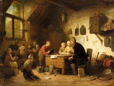"""""""The Classroom"""", 1862. Ferdinand I de Braekeleer (1792 - 1883), Belgian painter. #globe"""