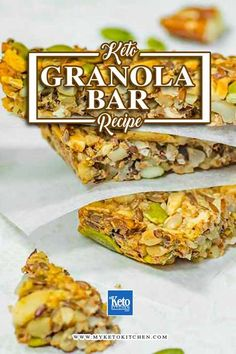 """Keto Granola Bar """"Secret"""" Recipe – A Super Healthy All Day Energy Snack. This muesli bar recipe is full of nuts and seeds and completely gluten free. Perfect for paleo and a low carb diet! Granola Bar Recipe Easy, Keto Granola, Granola Bars, Desserts Keto, Keto Snacks, Dessert Recipes, Best Gluten Free Recipes, Low Carb Recipes, Healthy Recipes"""