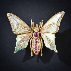Plique-a-Jour Enamel Butterfly Pin - 46 rose cut diamonds, 1 cabochon cut ruby, 6 round rubies