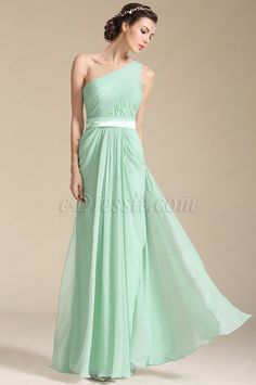 One Shoulder Light Green Bridesmaid Dress Evening Dress (07154104) #edressit #bridesmaid_dress #evening_dress #fashion