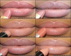 Top 6 Favorite Drugstore Nude Lipsticks (Left-Right): Revlon Rose Velvet, Milani Nude Creme, Wet n Wild Bare It All, Rimmel Spotlight Beige, Maybelline Totally Toffee, and Rimmel Kate 14.