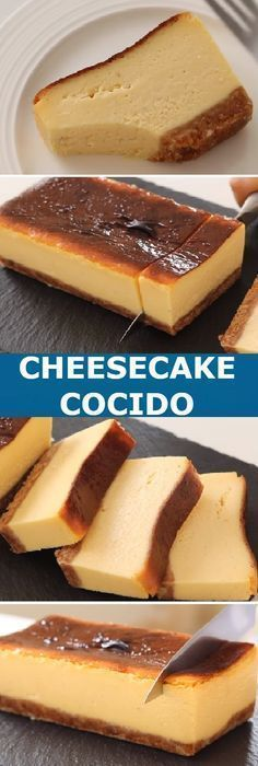 Cómo hacer un Cheesecake cocido Cream Cheese Terrine! Flan Cheesecake, No Bake Desserts, Delicious Desserts, Cheesecakes, Cupcake Cakes, Bakery, Food And Drink, Pasta, Sweets