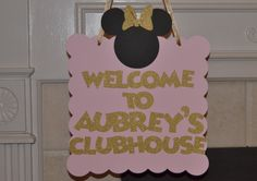 Personalized Minnie Mouse inspired Club house Sign, Bow-tique Door Sign, Pink and Gold glitter by CelebrateCustomEvent on Etsy