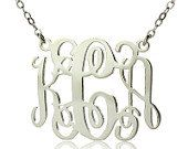 Monogram Necklace 3 Initials Sterling Silver Personalized Monogram Nameplate Necklace Letter Jewelry