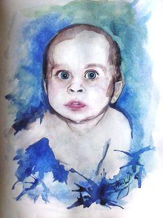 Мой первый акварельный портрет. #baby #kid #thewatercolordrawing #drawing #portrait #mybaby My first watercolor portrait.