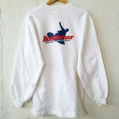 """BUDWEISER King of Beer Sweatshirt Jumper Pullover Size M VSS474  Tag reads: BUDWEISER (M) Chest (below armpit to other below armpit): 21.5"""" inches Front length of shirt (top of shoulder to bottom of product): 29"""" inches Condition:  Vintage pre owned condition. Commonly slightly faded due to ages and use.   ** WE ARE USING DHL EXPRESS,PLEASE LEAVE YOUR PHONE NUMBER ON THE NOTE  WHILE MAKE A PURCHASE**  If you have any questions, feel free to message me!"""