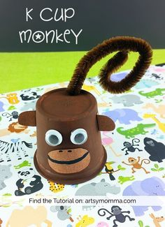 Wonder what to make with all those empty k cups? Recycle them into a silly K Cup Monkey Craft to go along with a silly book about monkeys. Jungle Crafts, Zoo Crafts, Monkey Crafts, Animal Crafts For Kids, Save On Crafts, Easy Crafts For Kids, Toddler Crafts, Preschool Crafts, Diy For Kids