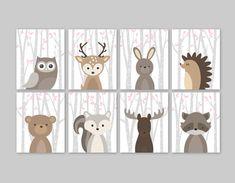 Bambino ragazza Nursery Decor, animali del bosco, Nursery Decor, Pink Stampe di animali di foresta, Set di 8 - carino foresta animali arredamento per camera da letto del bambino ragazza o vivaio. Questo bambino ragazza Nursery Decor di otto stampe illustrazioni di animali bosco
