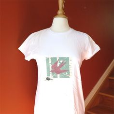 Tshirt womens swallow bird slim fit white applique by BoosTees, $18.00