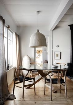 Kitchen Dining, Dining Table, Dining Rooms, Interior Design, Wooden Chairs,  Paint Colours, Country, Pendant Lights, House