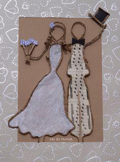Mariés en découpe de papier collée sous du kraft armé - visuels