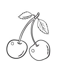 Free Cherry Coloring Page Food Coloring Pages, Free Printable Coloring Pages, Free Coloring, Coloring Sheets, Coloring Books, Sewing Leather, Stained Glass Patterns, Baby Crafts, Bookbinding