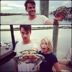 """Josh Duhamel is no crab when joined by Julianne Hough on set of Nicholas Sparks' Safe Haven Movie, but he did take the time to try to catch a few of the crustaceans for the crew! Was he successful? Watch his video to find out! Note, the password to view the video is """"crab"""". http://po.st/T1LRRz"""