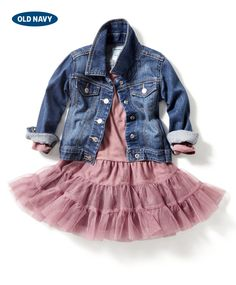 Dressing up denim? Adorbs. This girl's jean jacket layered over a pink tutu dress is the perfect combo for your little on-the-go stylista.