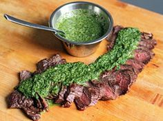 Ted Allen's Grilled Steak with Roasted Jalapeño Chimichurri | Serious Eats : Recipes