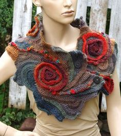 Unique Crochet scarf Freeform Crochet Scarf, Roses, Capelet, Neck Warmer Brown Orange blue Green,Chunky Knit ,Freeform Crochet, one of a kind  Color: shadows brown/green/orange Size: One size fits all   lenght about 42,52/9,45 (106cm/24cm)  materials used: 70% acrylic 30%wool  Care instruction: hand wash using warm water.  Because of different monitors and screen resolutions, colors may look different on the screen than really.