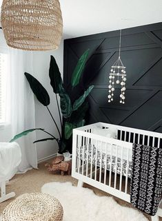 Black and White Nursery with Accent Wall - 14 Nursery Trends and Children's Design Ideas to Watch for 2020 - Project Nursery Baby Nursery Decor, Baby Bedroom, Baby Boy Rooms, Project Nursery, Nursery Neutral, Baby Boy Nurseries, Nursery Room, Nursery Ideas, Accent Wall Nursery