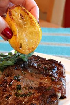 Pan Fried Lemon- Garlic Rib-Eye Steaks 5