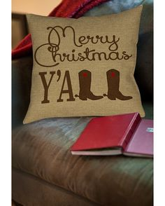 Thumbprintz Merry Christmas Y'all Boots Indoor Pillow - Brown/Red  http://www.countryoutfitter.com/products/98314-merry-christmas-yall-boots-indoor-pillow-brown-red