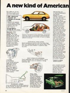 """1976 CHEVROLET CHEVETTE vintage magazine advertisement """"new kind of American car"""" ~ (model year 1976) ~ A new kind of American car worth looking into. For a little car, our new Chevette sure gives a person a lot to think about. ~ Size: The dimensions of each page of the two-page advertisement are approximately 8.25 inches x 11 inches (21 cm x 28 cm). Condition: This original vintage two-page advertisement is in Excellent Condition unless otherwise noted."""