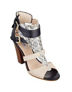 Guess Boden Calf Leather & Snakeskin Heels BLACK