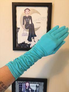 1950s gloves vintage gloves turquoise gloves nylon gloves ruched gloves 50s gloves size 7