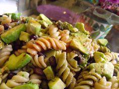 Jackie's Vegan Tri~Colored Pasta, Kale, Black Bean, Orange Bell & Avocado Salad! Recipe on #MyVeganJournal