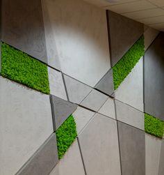 Moss on the wall, moss from concrete, cladonia rangiferina moss Scandinavian Porch Wall Design, Wall Panel Design, Wall Decor Design, Ceiling Design, Accent Wall Designs, Green Facade, Moss Wall Art, Wooden Wall Panels, Wall Exterior