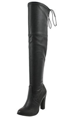 Delicious Womens Faux Leather Back Tie Over the Knee Chunky High Heel Dress Boot Black 75 M US * You can find more details by visiting the image link. (This is an affiliate link) Women's Over The Knee Boots, Chunky High Heels, Black Boots, Tie, Leather, Shoes, Dresses, Amazon, Image Link