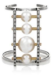 Lanvin Faux pearl and Swarovski crystal silver and burnished gold-tone cuff